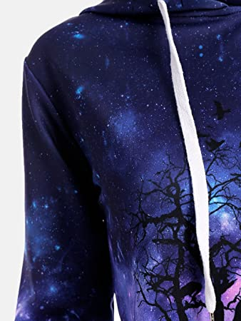 Cleaning Kits Women Hoodies Hevoiok Fashion 3D Starry Sky and Wolf Print Long Sleeve Sweatshirt Pullover Tops