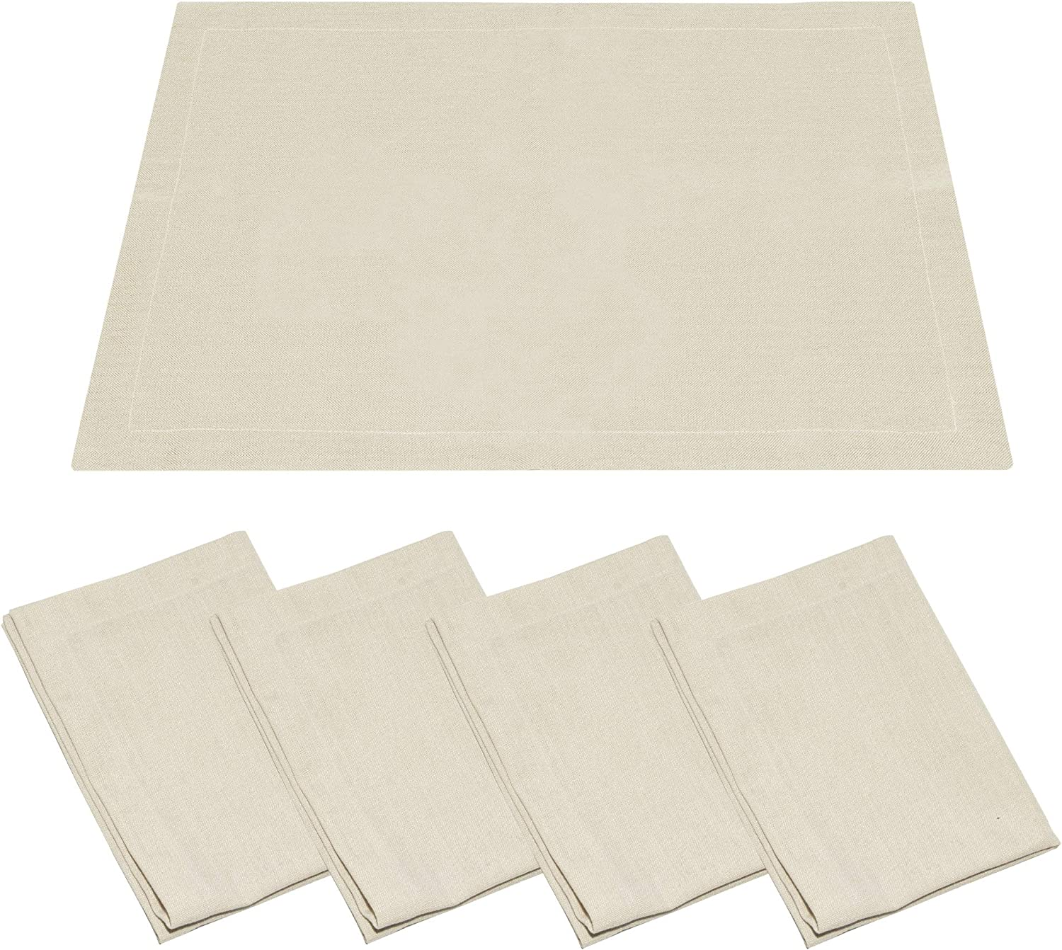 GuildreyTex Table Placemats, Machine Washable, Non-Wrinkle Linen Texture Farmhouse Modern Dining Table Mats Set of 4, Natural