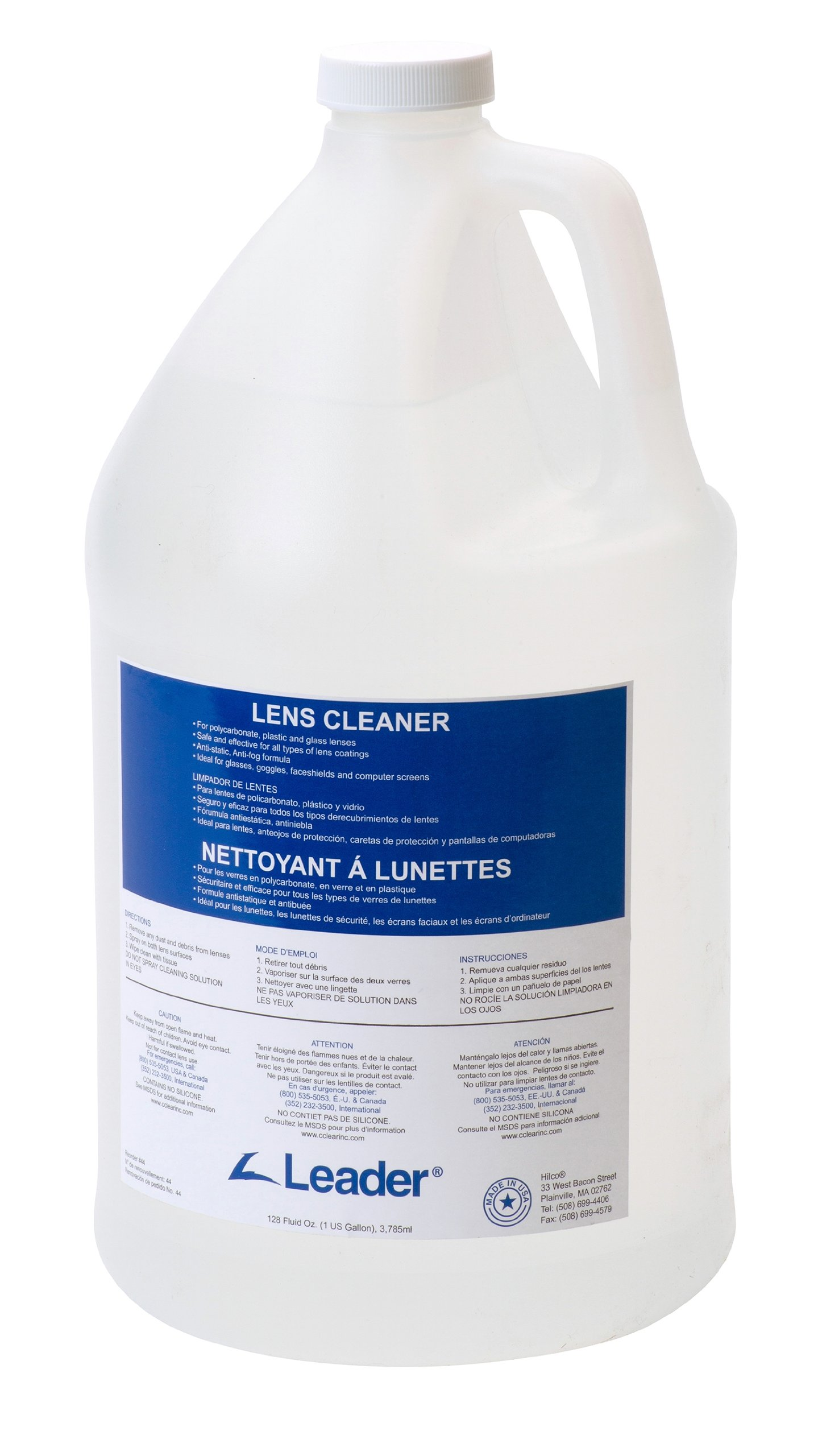 C-Clear 44 Lens Cleaning Cleaner Solution, 1 Gallon Capacity by Leader