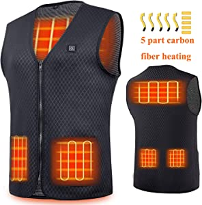 EL-move Heated Vest, USB Charging Warm Vest Electric Heated Jacket Washable for Women Men Outdoor Camping Motorcycle Riding Golf Hunting (Battery NOT Included)