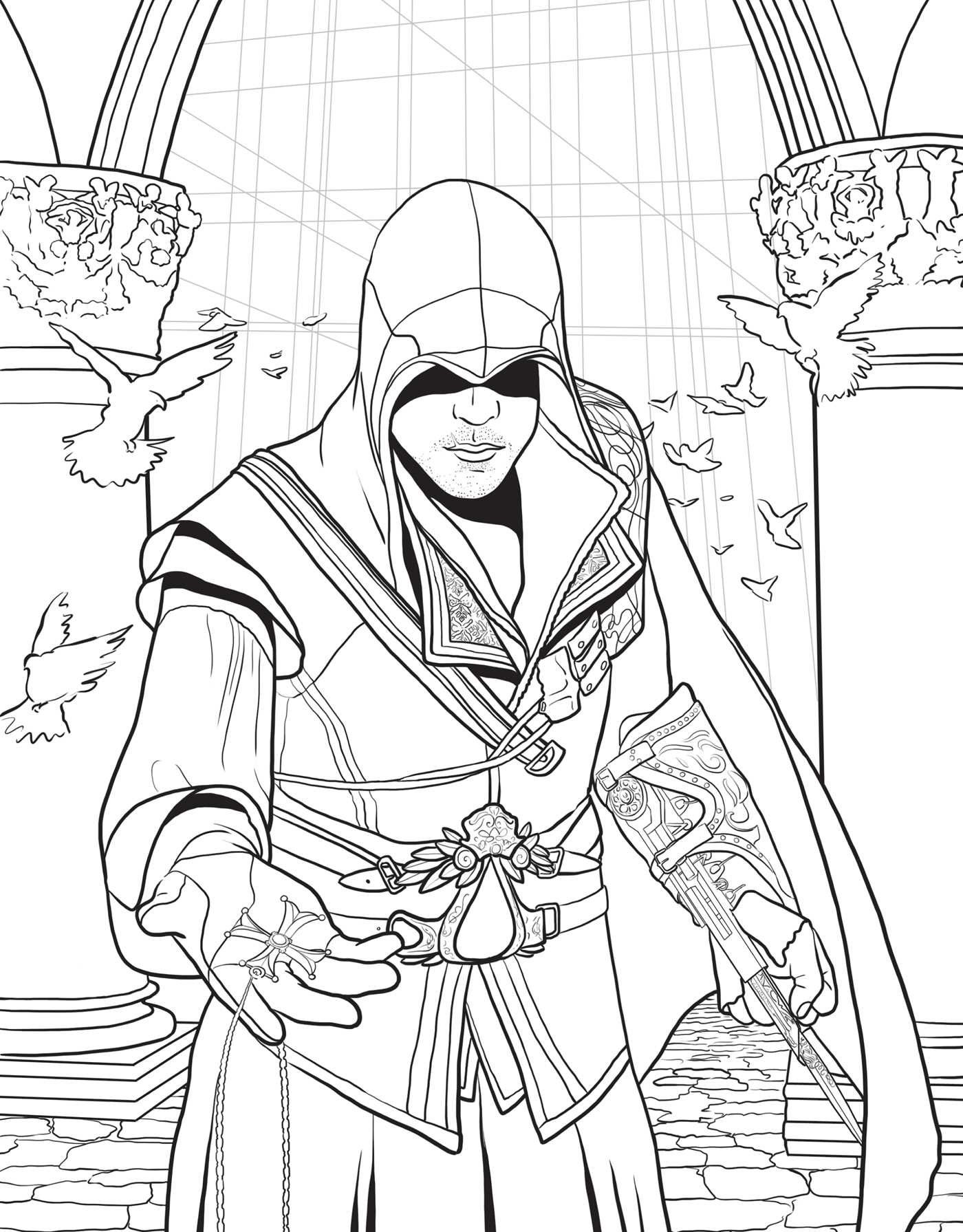 assassins creed the official coloring book insight editions 9781608878635 amazoncom books