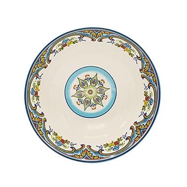 Euro Ceramica Zanzibar Collection Vibrant 12.75  Ceramic Round Serving/Salad Bowl, Spanish Floral Design, Multicolor