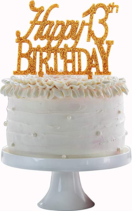 Fabulous Amazon Com Happy 13Th Birthday Cake Topper Gold Acrylic Cake Funny Birthday Cards Online Elaedamsfinfo