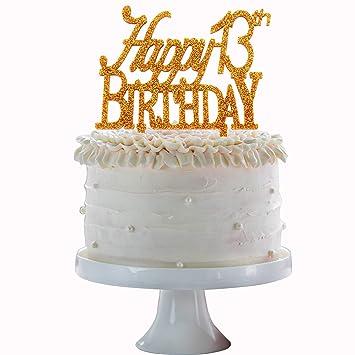 Amazon Happy 13th Birthday Cake Topper Gold Acrylic
