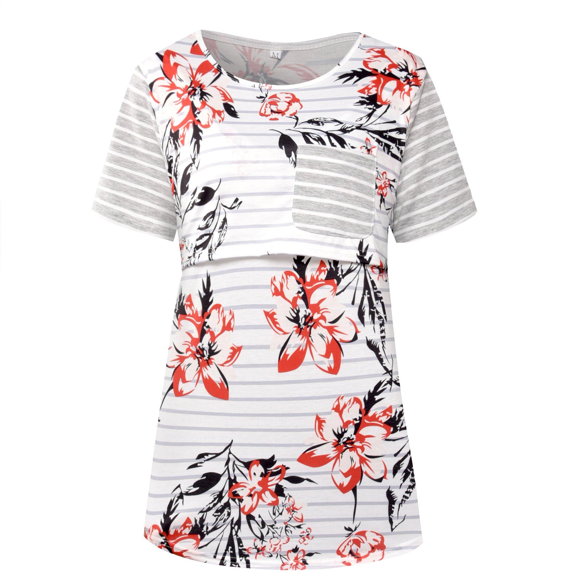 chulianyouhuo Women Maternity Nursing Tops Floral Stripe Short Sleeve Breastfeeding Shirt Clothes (Gray, M)