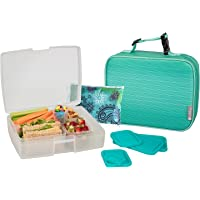 Bentology Lunch Bag and Box Set for Boys - Includes Insulated Sleeve with Handle, Bento Box, 5 Containers and Ice Pack