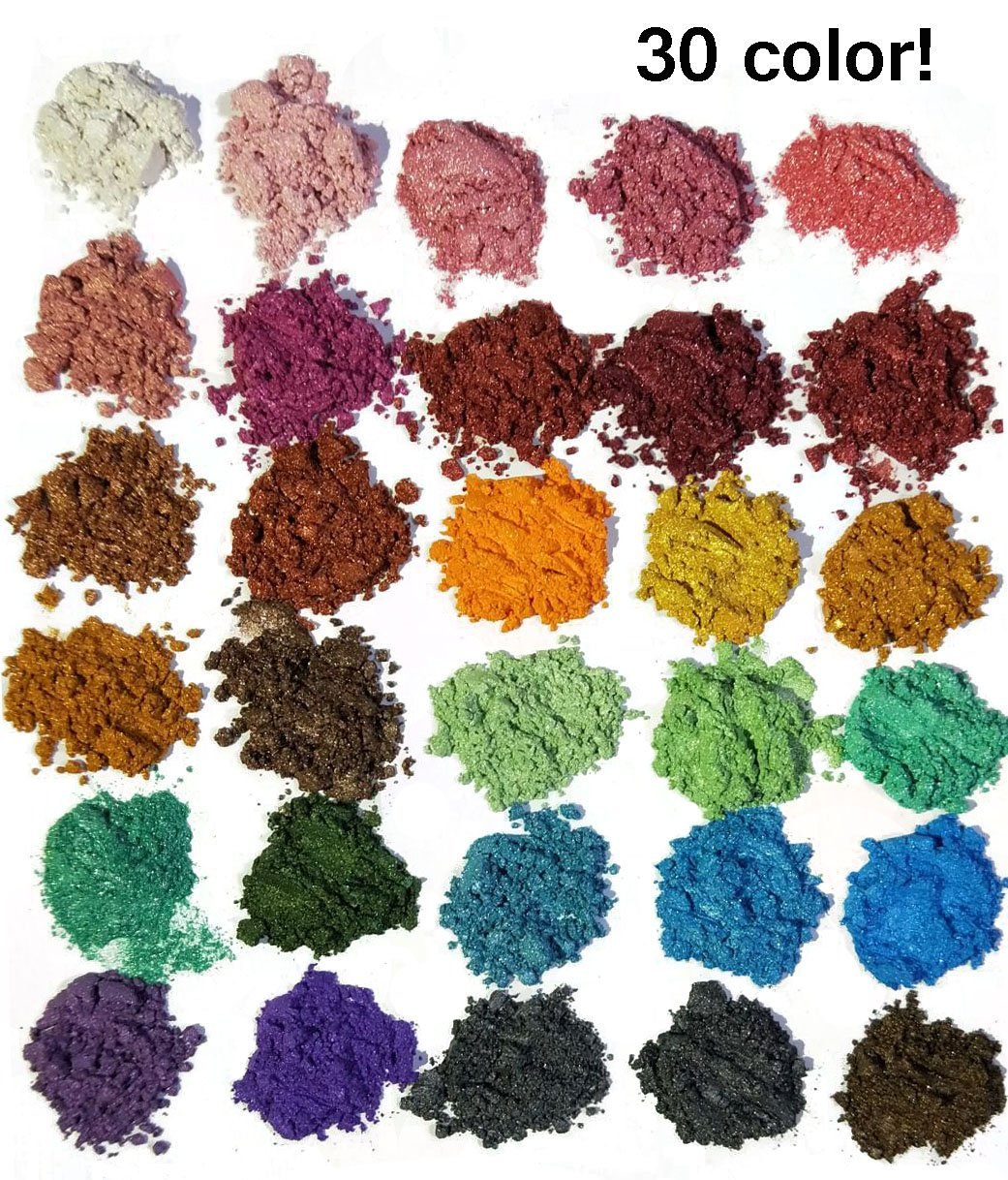 30 Color Pigments Shimmer Mica Powder - DIY Soap Making, Candle Making,Resin Dye, Mica Powder Organic for Soap Molds (5 grams Each, 150 Grams Total) NIGHT-GRING