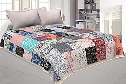 Saryu Homes Cotton Patchwork Machine Quilted Double Bed Cover (Multicolour)