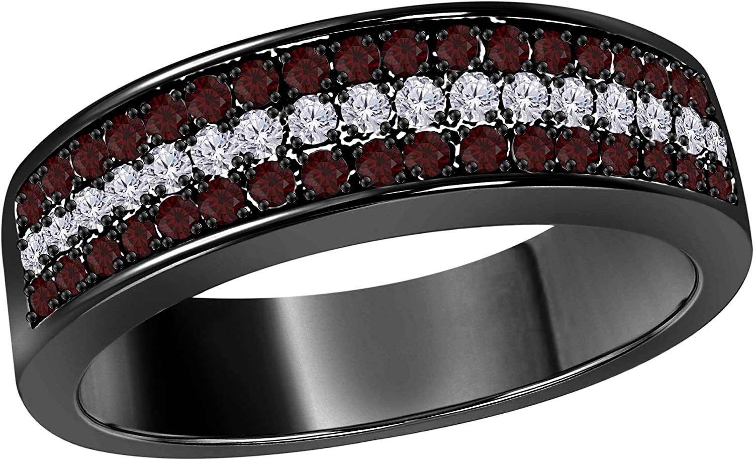 Silver Gems Factory 6mm 14K Black Gold Over 0.50 Ct Red Garnet /& White Cz Diamond Ring 3 Row Pave Half Eternity Mens Anniversary Wedding Band Ring