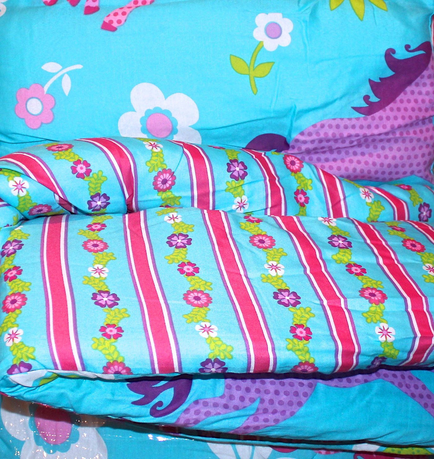 Girls Turquoise Blue & Pink PONY HORSE Comforter Set W/Sheets (Bed in a Bag) (FULL SIZE)
