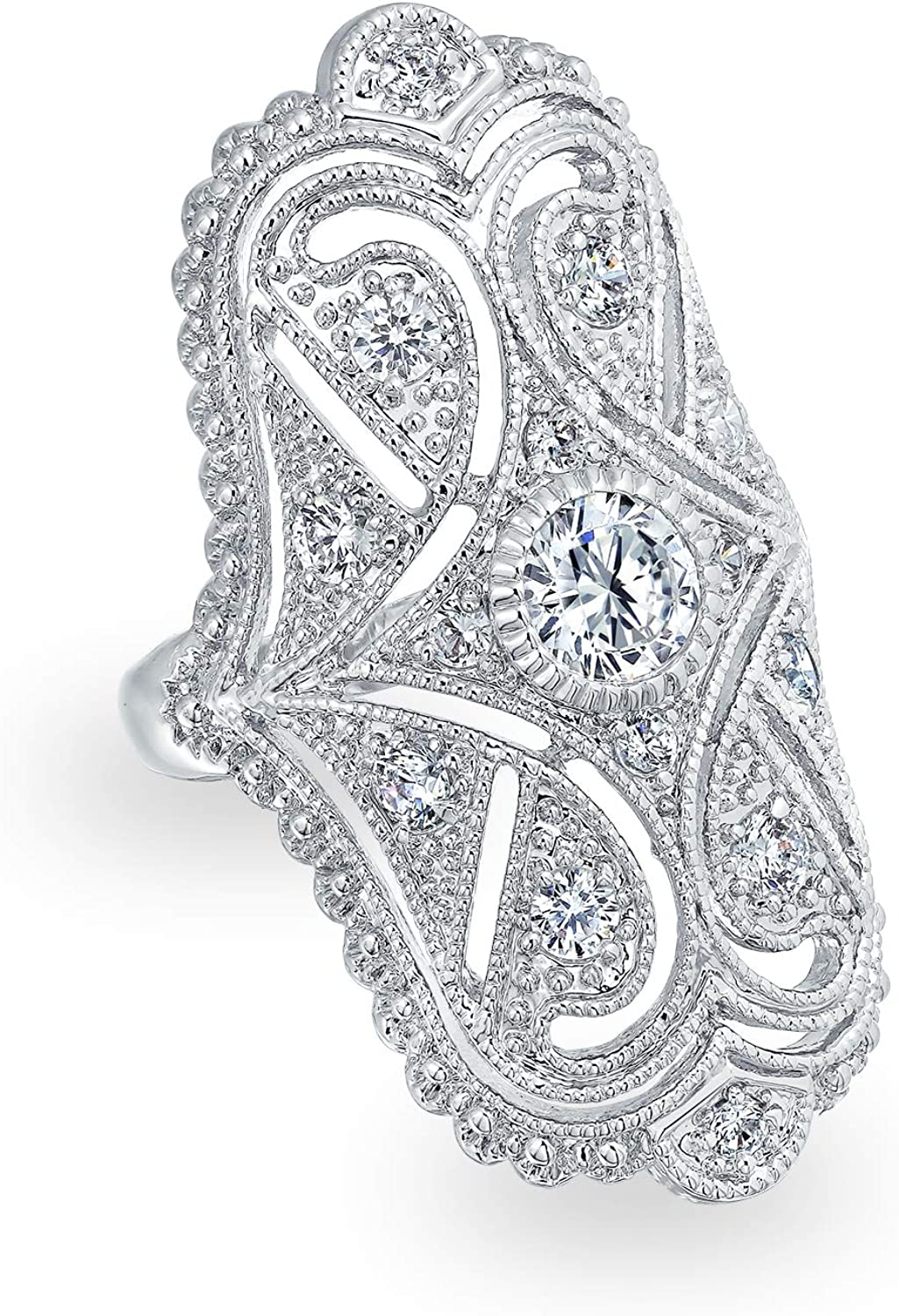 Bling Jewelry Deco Antique Style Filigree Pave CZ Wide Armor Full Finger Fashion Statement Ring Cubic Zirconia Rhodium Plated Brass
