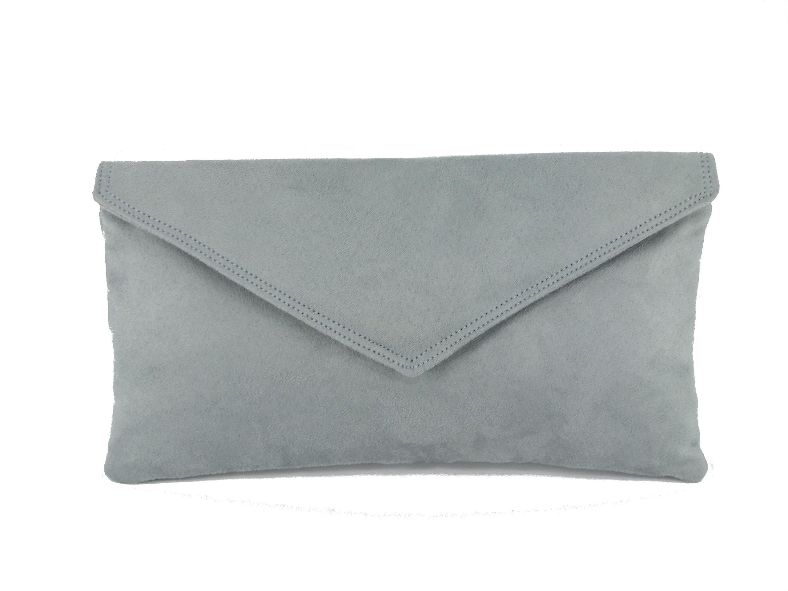 Loni Womens Neat Envelope Faux Suede Clutch Bag/Shoulder Bag in Grey