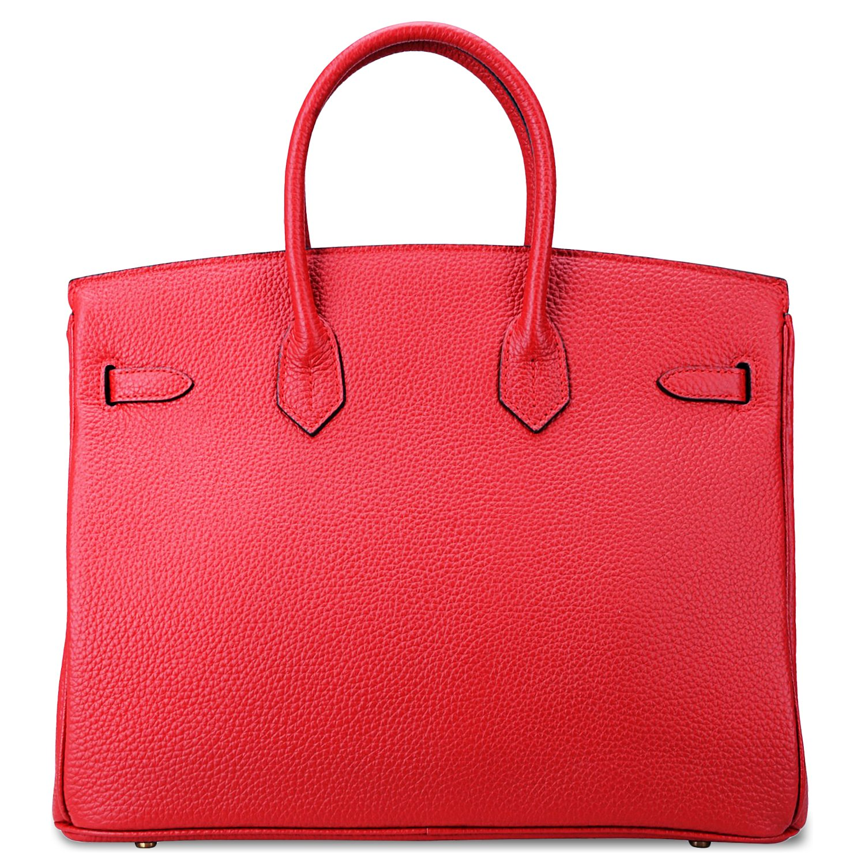 SanMario Designer Handbag Top Handle Padlock Women's Leather Bag with Golden Hardware Red 35cm/14'' by SanMario (Image #4)