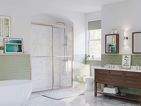 Coastal Shower Doors 1844 66n C Paragon Series Framed Sliding Shower Door With Towel Bar In Clear Glass 44 X 66 Brushed Nickel Amazon Com
