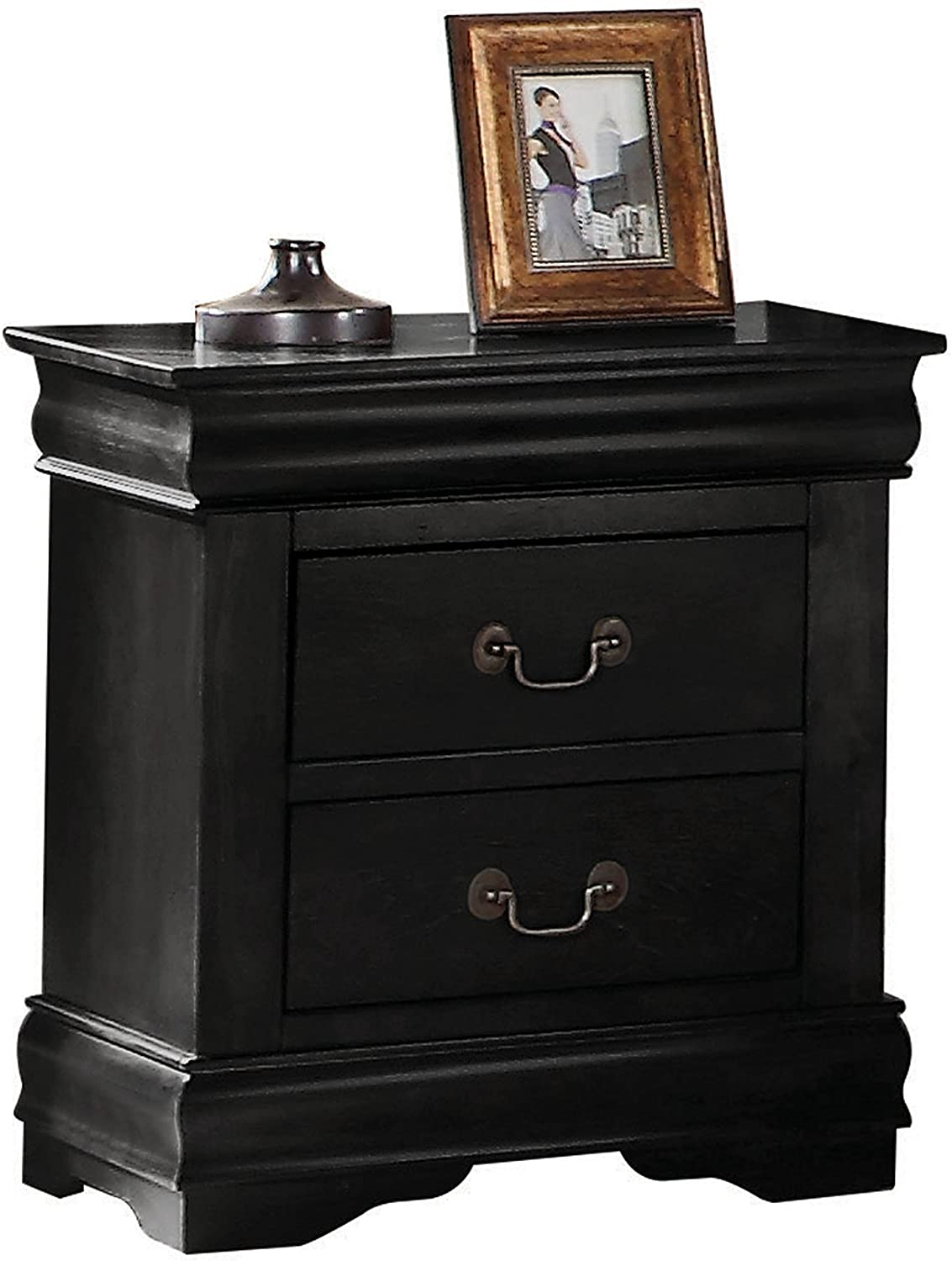 One Size Black ACME Furniture Louis Philippe 23733 Nightstand