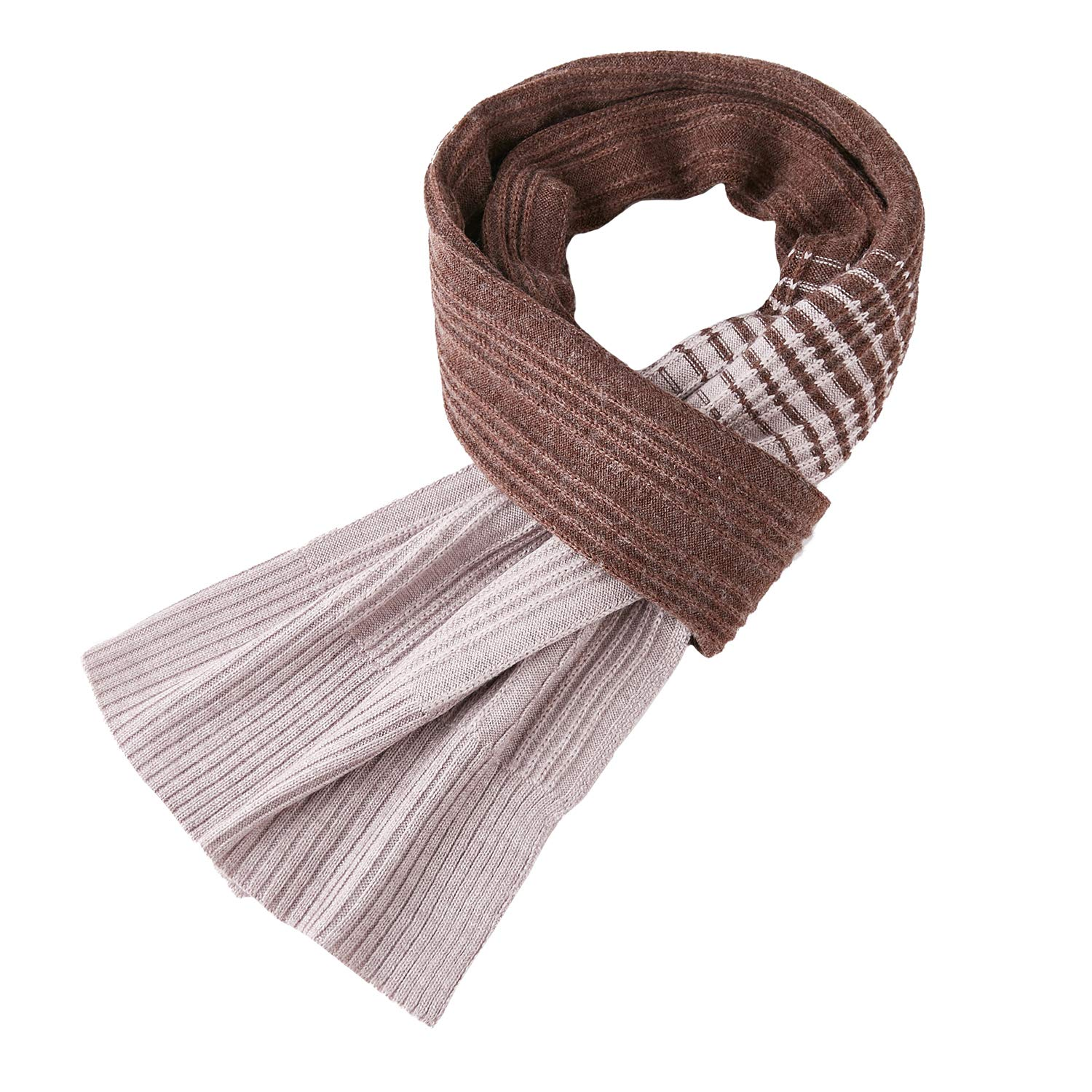 Taylormia Men's Fashion Warm Thick Long Knit Cashmere Scarf for Fall & Winter coffee