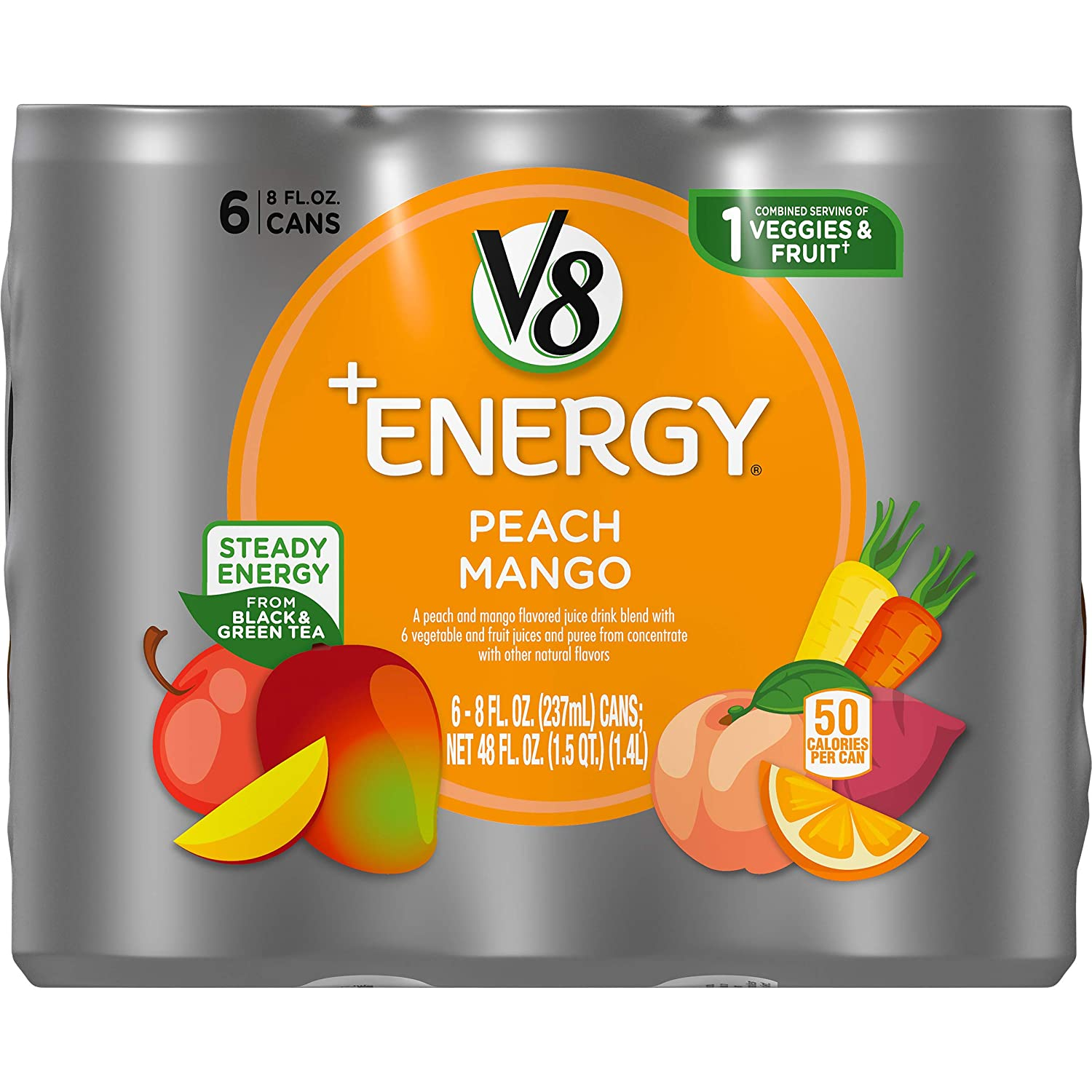 V8 +Energy, Healthy Energy Drink, Natural Energy from Tea, Peach Mango, 8 Ounce Can (4 Packs of 6, Total of 24)