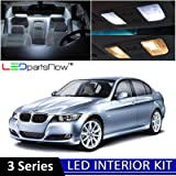 LEDpartsNow 2006-2012 BMW 3 Series E90 E92 M3 LED Interior Lights Accessories Replacement Package Kit (14 Pieces), WHITE