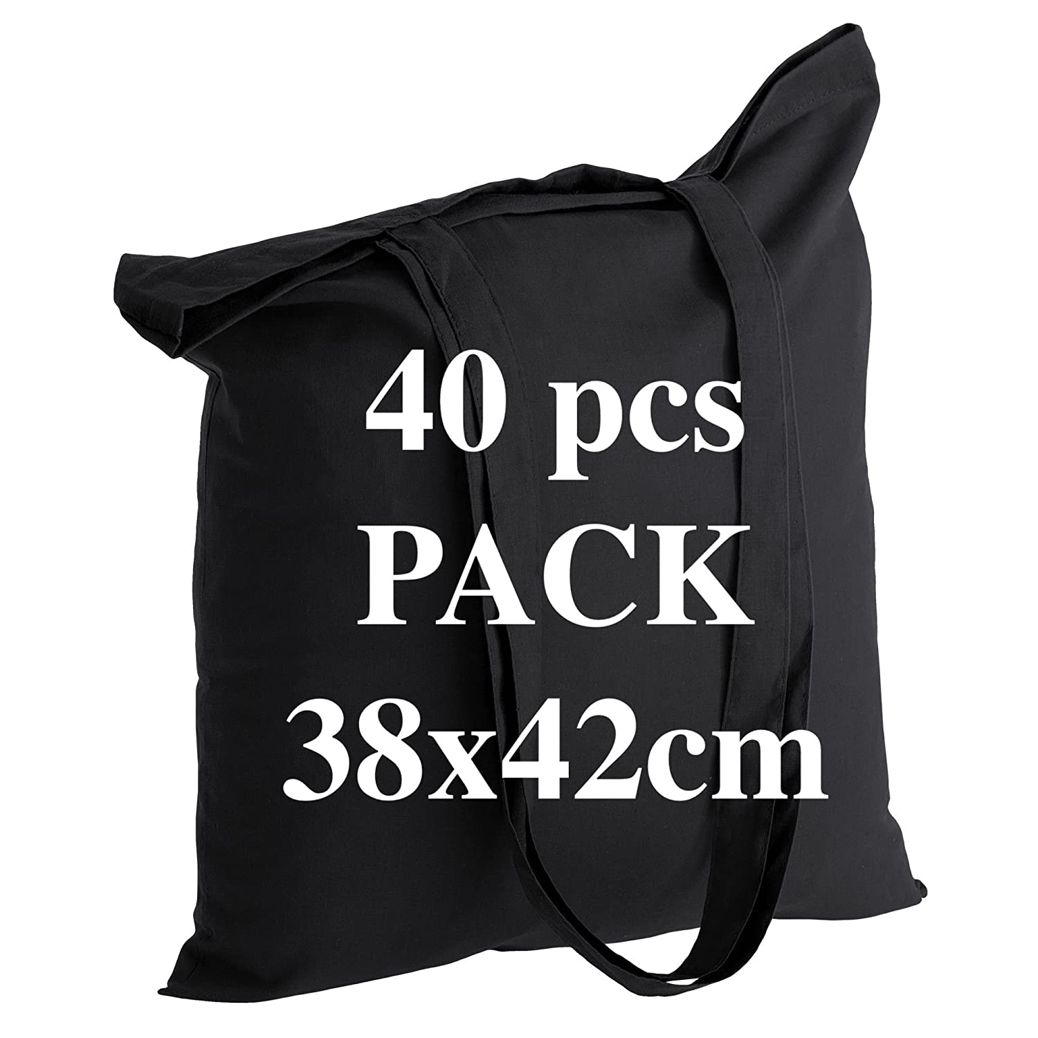 Quality 10 Cotton Black Shopping Tote Bags 38x42 cm Long Handles 70 cm 100% Cotton 5oz. The Most Popular Model for Printing and Decorating. ECO BAGS
