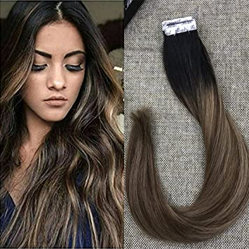 Amazon full shine 22 inch hair extensions glue in balayage full shine 22 inch hair extensions glue in balayage invisible tape in hair extensions black roots pmusecretfo Choice Image