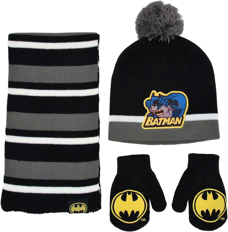 DC Comics Batman Bobble Hat Scarf and Gloves Set