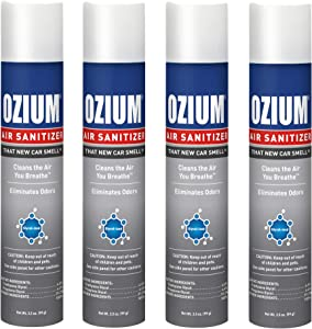 Ozium 3.5 Oz. Air Sanitizer & Odor Eliminator for Homes, Cars, Offices and More, New Car Scent, 4 Pack
