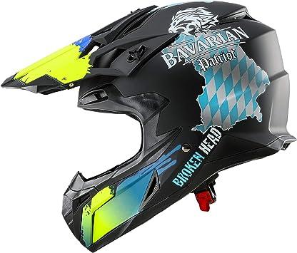 Broken Head Bavarian Patriot Schwarzer Motorrad Helm Für Mx Motocross Sumo Quad Mit Bayern Motiv Größe S Auto