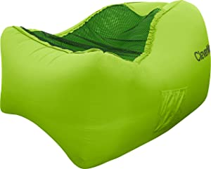 CleverMade Inflatable Lounger Air Chair: Lightweight Recliner Style AirChair, Portable Outdoor Beach Chair with Carry Bag, Ground Stakes, and Storage Pockets, Lime