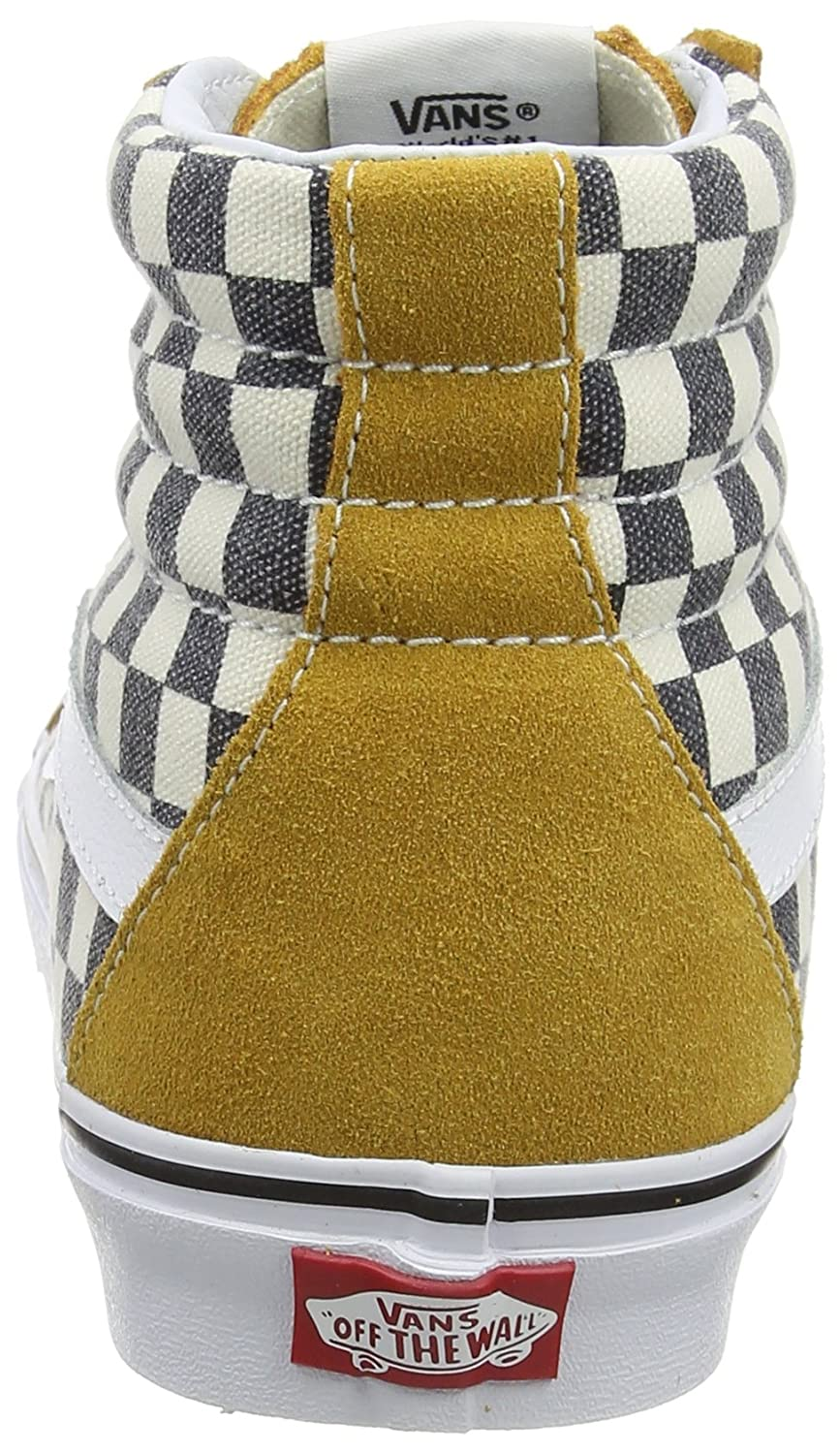 74a6daa3b9c392 Vans SK8-Hi Reissue Checkerboard Spruce Yellow Navy Skate Shoes  Amazon.ca   Shoes   Handbags