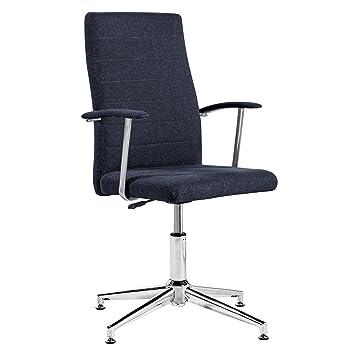 Silla de escritorio para despacho modelo Look con base fija Elegance color gris marengo - Sedutahome: Amazon.es: Hogar