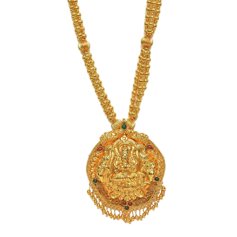34582b119197b Buy Long Necklace Laxmi Pendant Javmani mala Set Online Online at ...