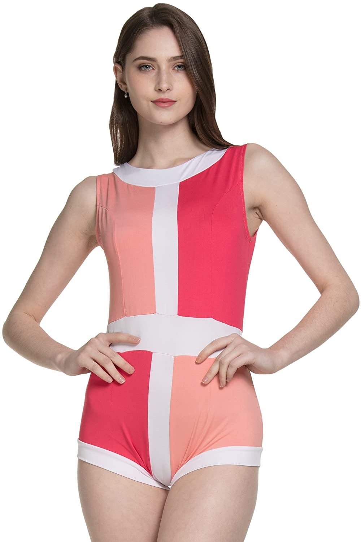 3e9bc596f4 Samurai JP Retro & Modern One-Piece Swimsuit for Women (Old Fashion Two  Tone Series) Swimwear with Original Towel (US XS Size (Asia M), Dragee &  Cherry ...