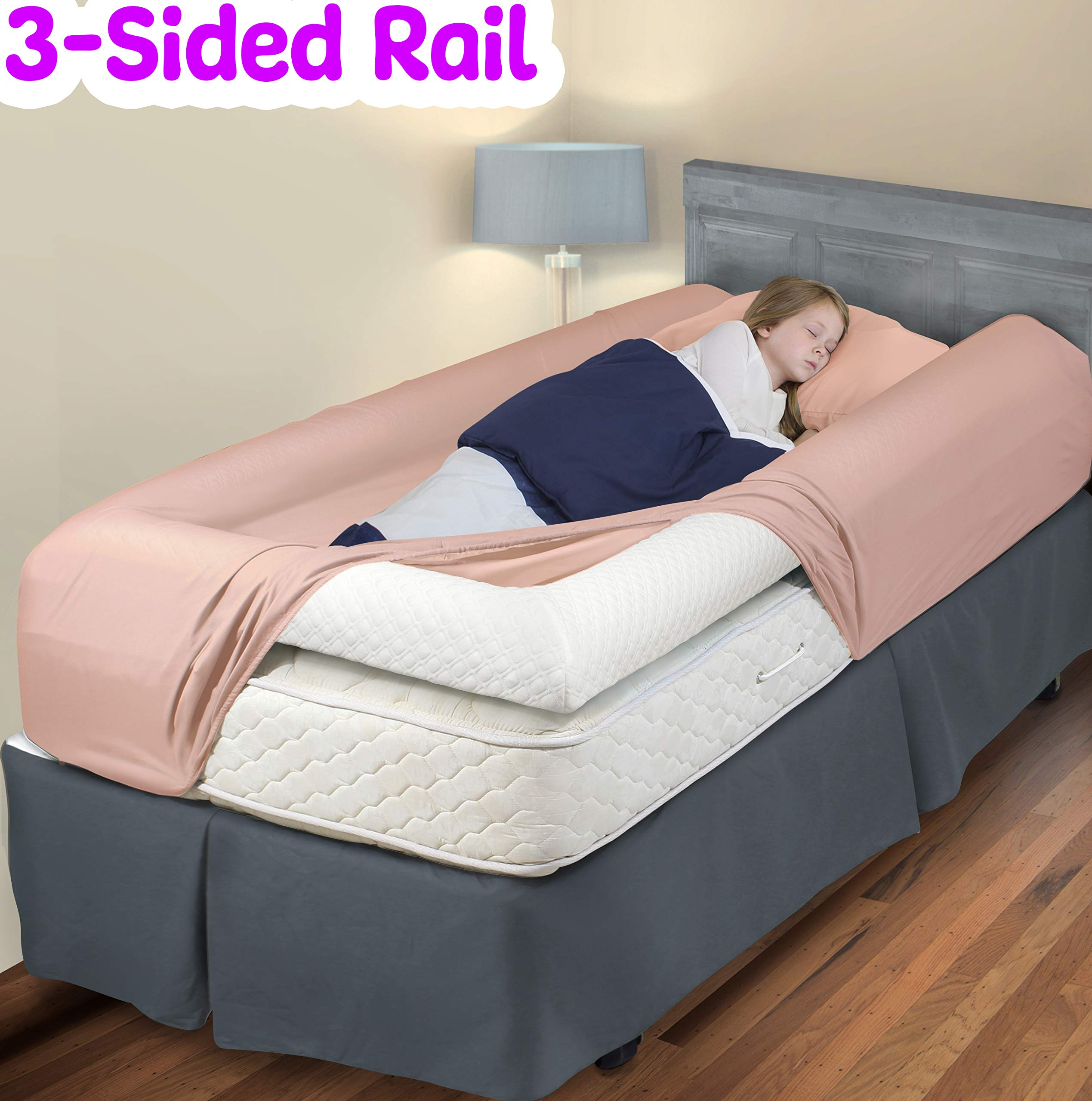 3-Sided Bed Rail for Toddler | Soft Foam Bed Bumper for Kids | Protects Your Child from All Sides! | Baby Bed Guard | Child Bed Safety Side Rails with Water Resistant Washable Cover (Twin Size)