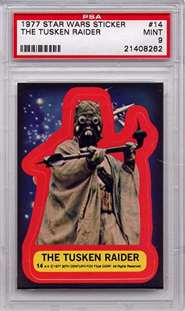 1977 star wars sticker the tusken raider 14 psa 9 mint graded non