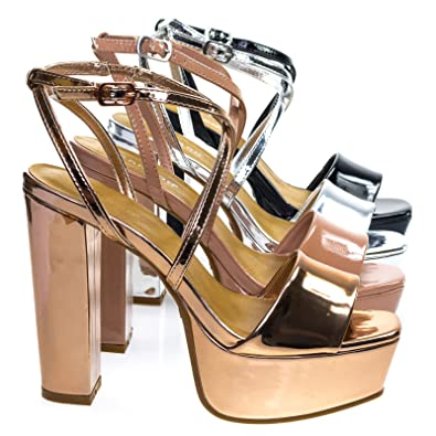 6e78a214ac89 Admire01 Rose Gold Block Heel Platform Dress Sandal w Criss-Cross Strap -6