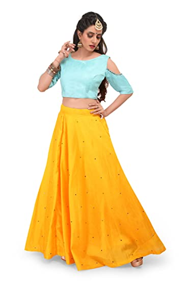 b42d348e4be Voolka yellow and turquoise women fully stitched lehenga choli with jpg  367x550 Stitched lehnga