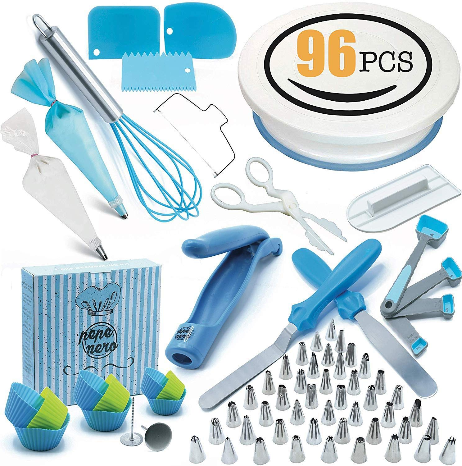 JHKJ 96 Pieces Professional Cake Decoration Turntable kit Pastry Tools Cake Decorating Tip Set Piping Tips Tools Supplies by JHKJ (Image #1)