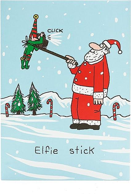 Carte de Noël humoristique en forme de bâton d'elfie   Carte de