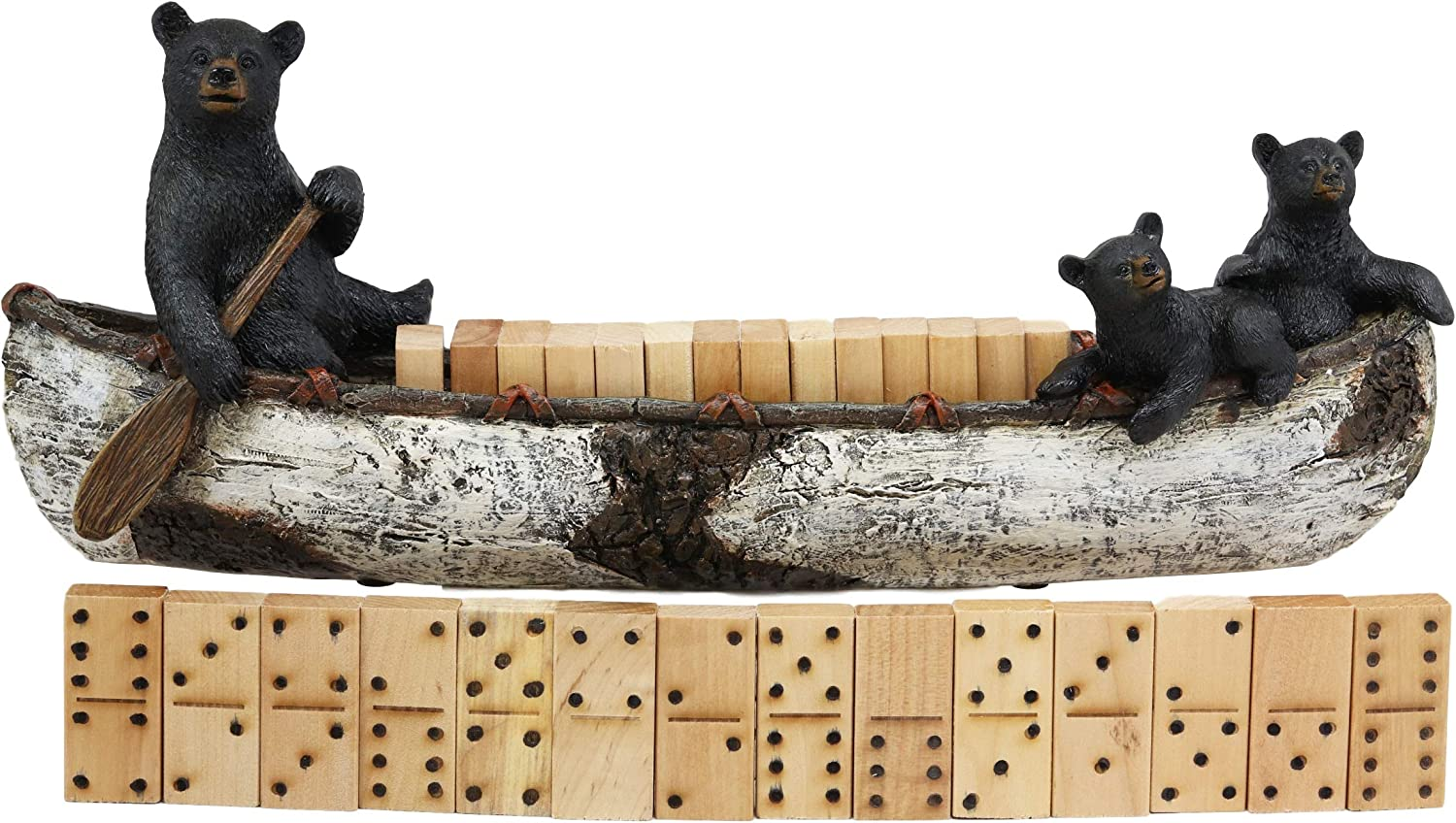 "Ebros Western Rustic 3 Black Bears Family Rowing Birch Bark Canoe Boat Domino Display Figurine Holder with 28 Wooden Dominoes Set 15"" Long Bear Decorative Figurine for Cabin Lodge Country Cottage"