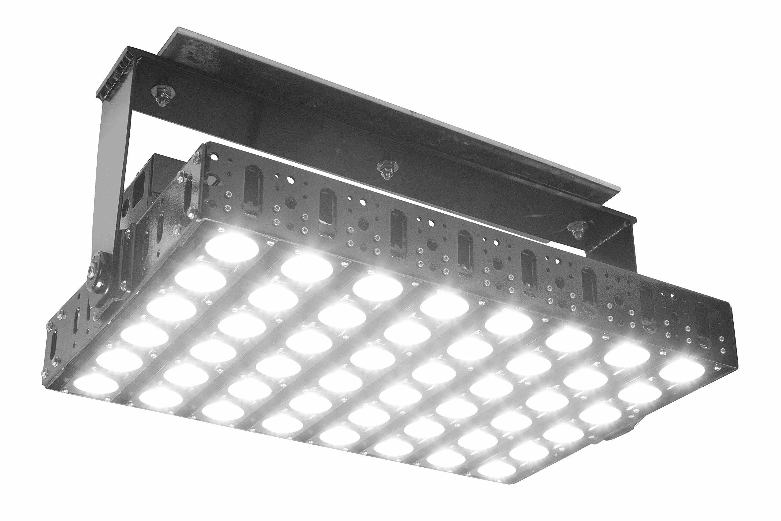 600 Watt High Bay LED Light - 78,000 Lumens - 480V AC - Stainless Steel Brackets - Crane Lighting(-60° Flood-5500K)