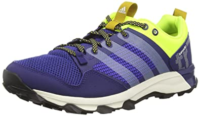 separation shoes a916f bf9dc Adidas Men s Kanadia 7 Tr M Dark Blue, White and Solar Yellow Mesh Trail  Running