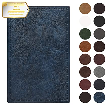Leather Repair Patch Self-Adhesive Couch Patch Emboss Leather 5X8 inch for Sofas, Car Seats, Handbags, First Aid Patch (Navy Blue)