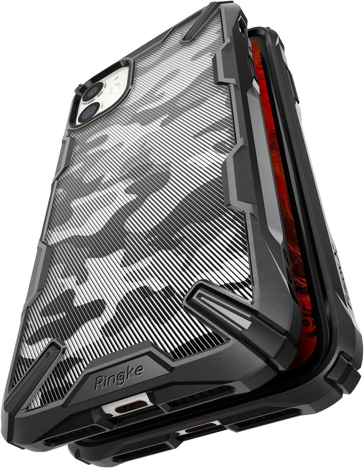 Ringke Fusion X Design Case Made for iPhone 11 (2019) Semi-Transparent 3D Pattern Textured with Military Grade Drop Protection Cover - Camo Black