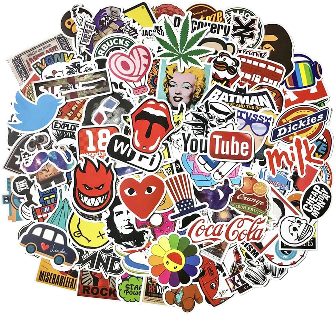 Cool Stickers Pack, 100 Pcs Vinyl Waterproof Stickers for Laptop, Luggage, Skateboard, Car, Motorcycle, Bicycle Decal Graffiti Patches (Stickers - A)