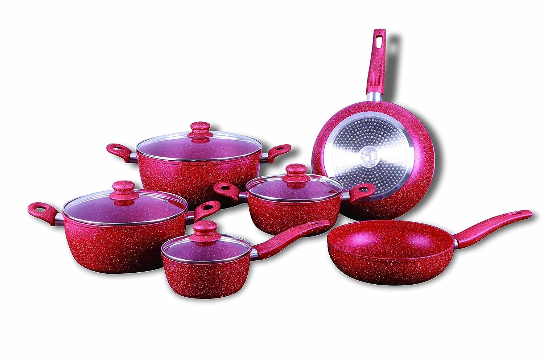 Royalty Line rl-t010 rojo - Batería de cocina con revestimiento de mármol (10 piezas): Amazon.es: Hogar