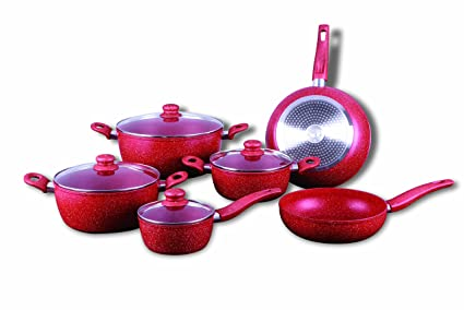 Royalty Line rl-t010 rojo – Batería de cocina con revestimiento de mármol (10