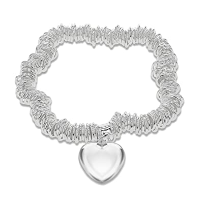 Tuscany Silver Sterling Silver Hearts and Stars Bracelet of 18cm/7 gLVqee
