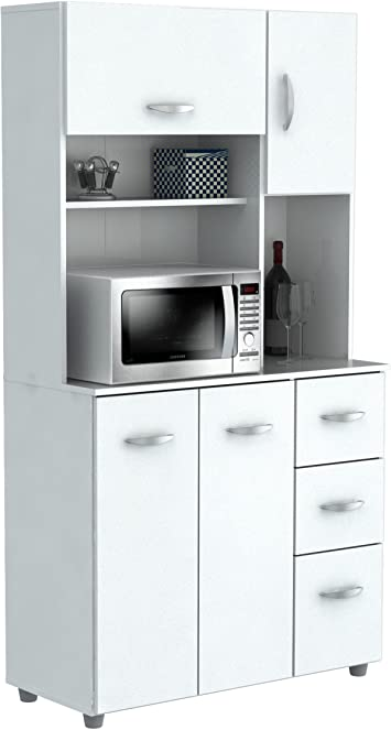 Inval America 4 Door Microwave Storage Cabinet, Laricina White