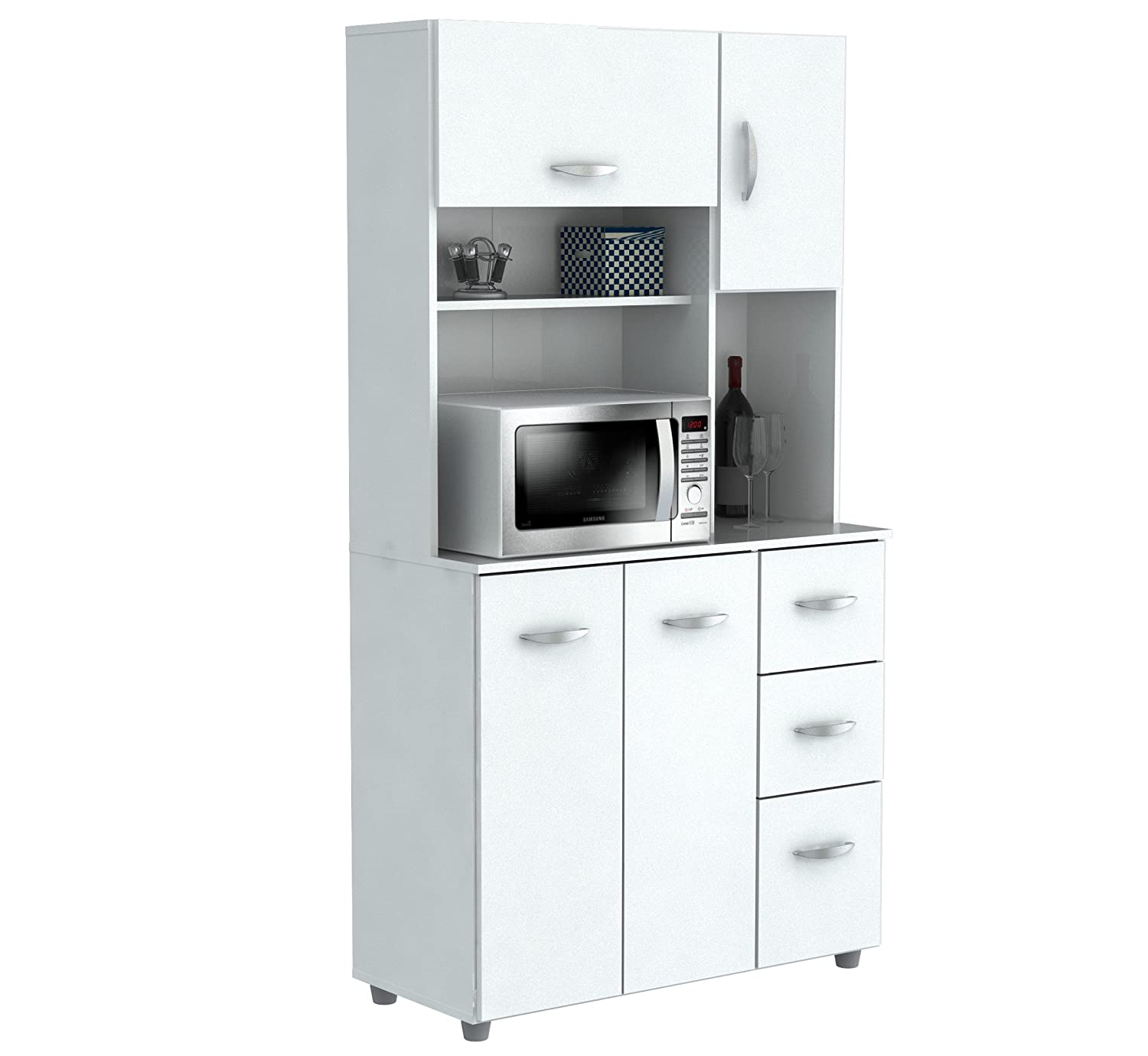 Inval America 4 Door Storage Cabinet with Microwave Cart, Laricina White GCM-042