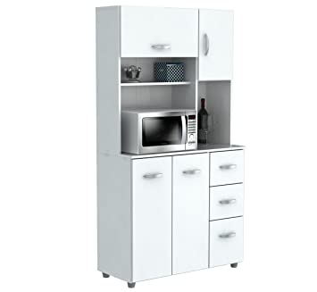 Inval America 4 Door Storage Cabinet With Microwave Cart Laricina White
